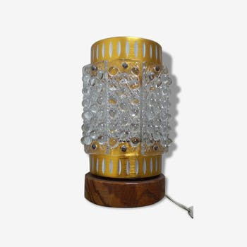 Lamp in brass and teak Table seventies