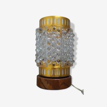 Lampe en laiton et teck de Table seventies