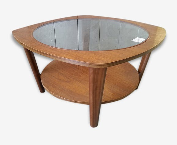 Table Basse Ronde Vintage Style Scandinave Bois Et Verre