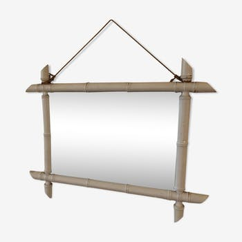Miroir ancien bambou blanc