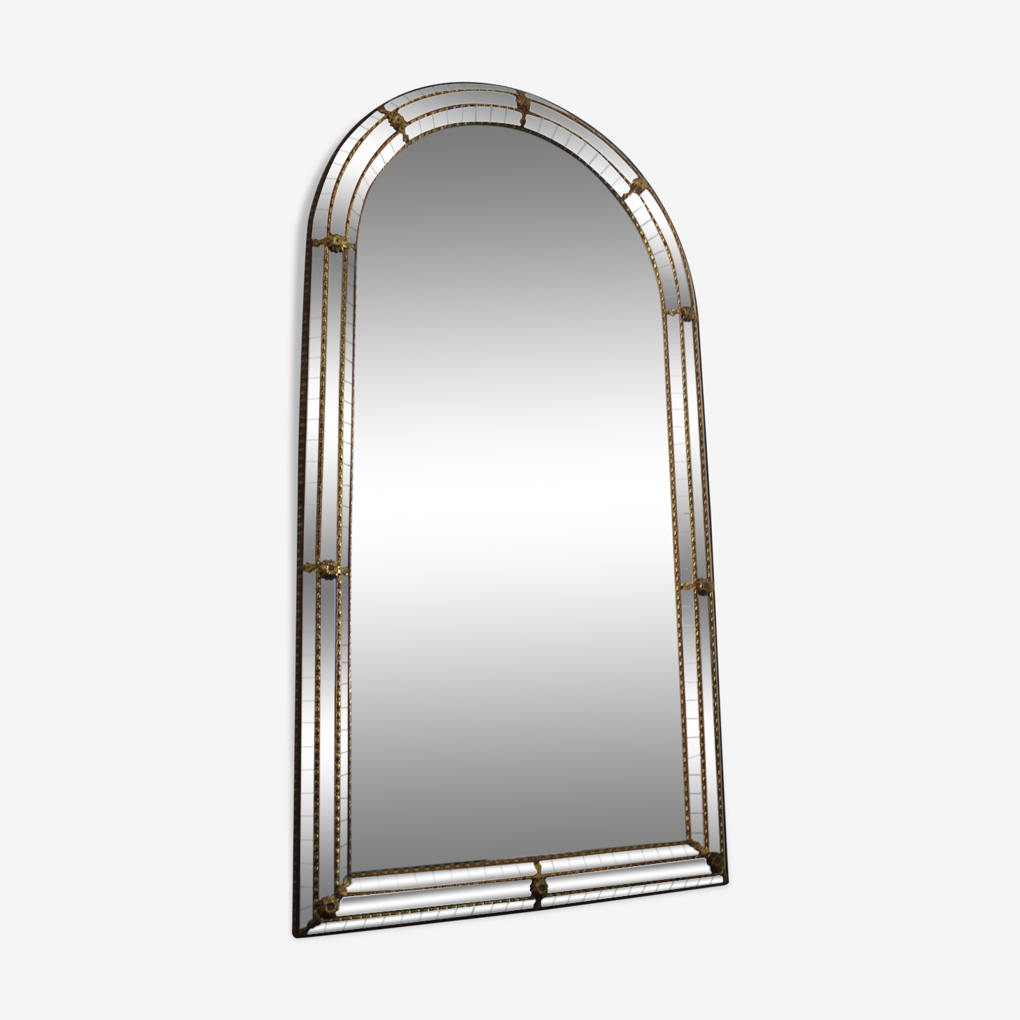 Miroir vénitien à parcloses et Laiton 110x60cm