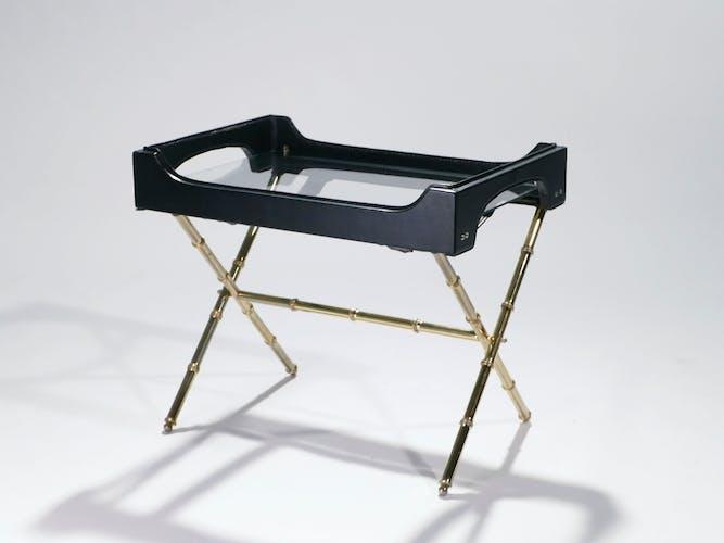 Table d'appoint et laiton plateau cuir 1950