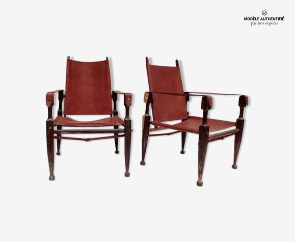 Paire de fauteuils safari en palissandre modèle de Kaare Klint des ...