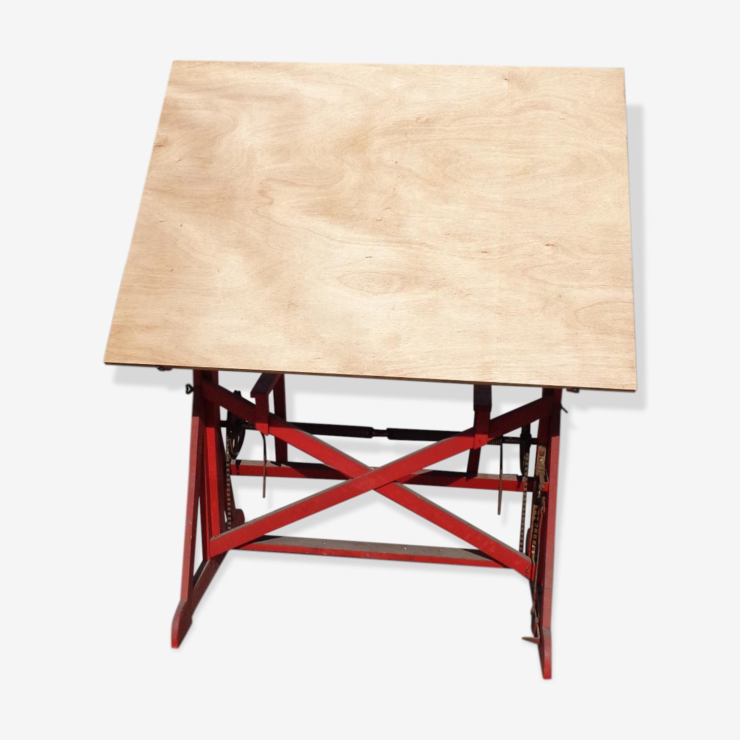 Table D Architecte En Bois table d'architecte tout bois - bois (matériau) - rouge - industriel