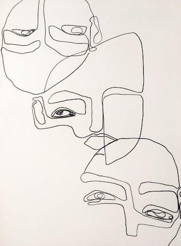 Faces original artwork 50x70