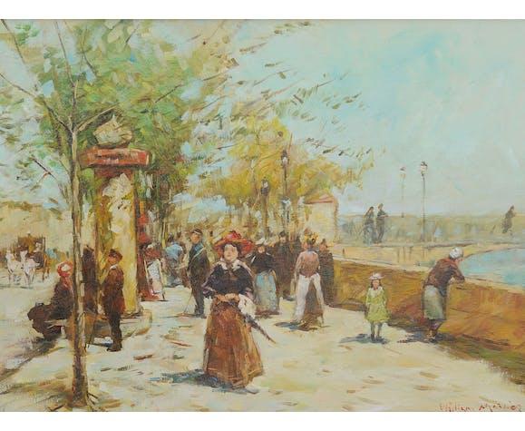 "William Mercier (born 1939) oil on canvas ""Walks"""