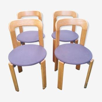 Série de 4 chaises design bois 1980