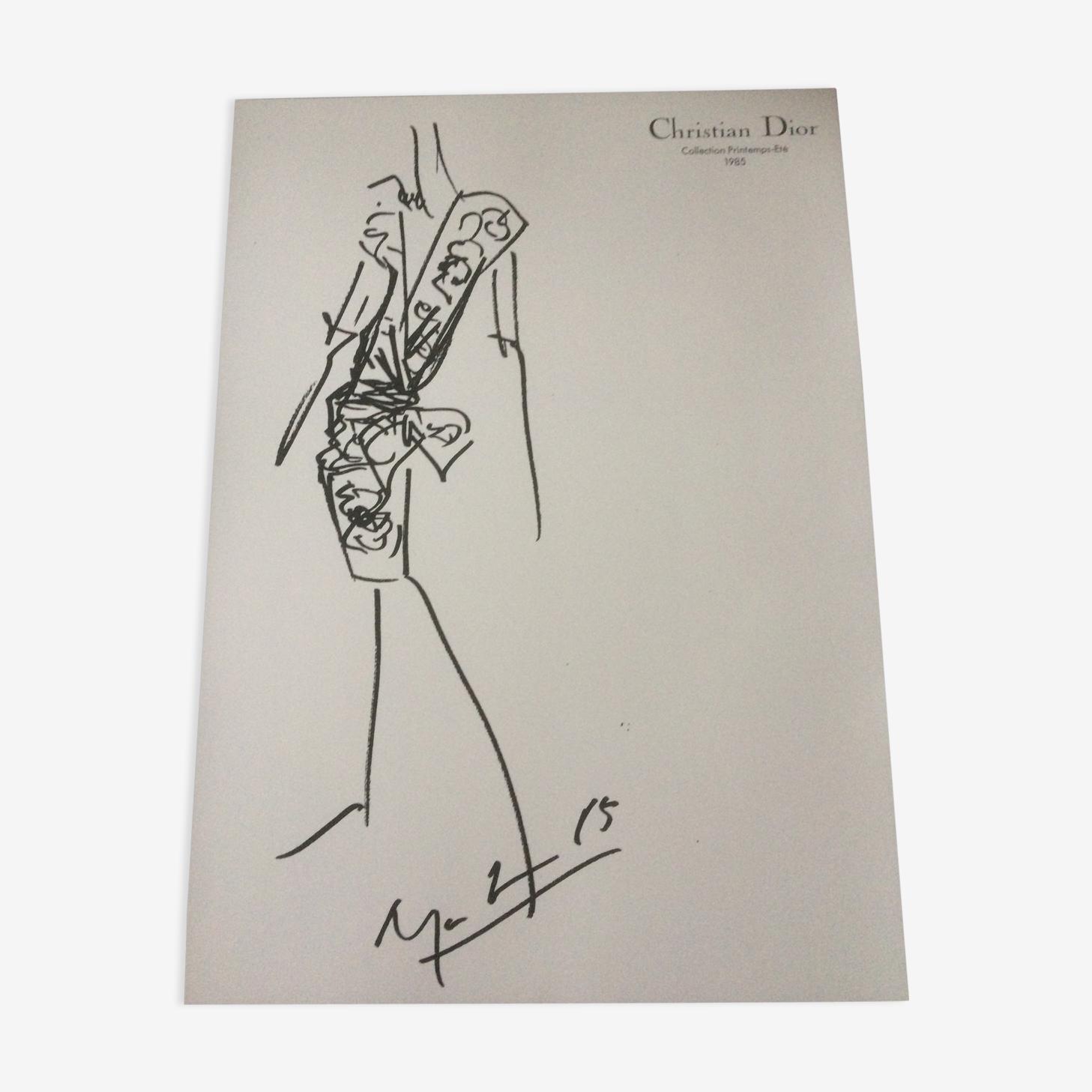 Illustration de mode  et sa  photo de presse Christian Dior des années 80
