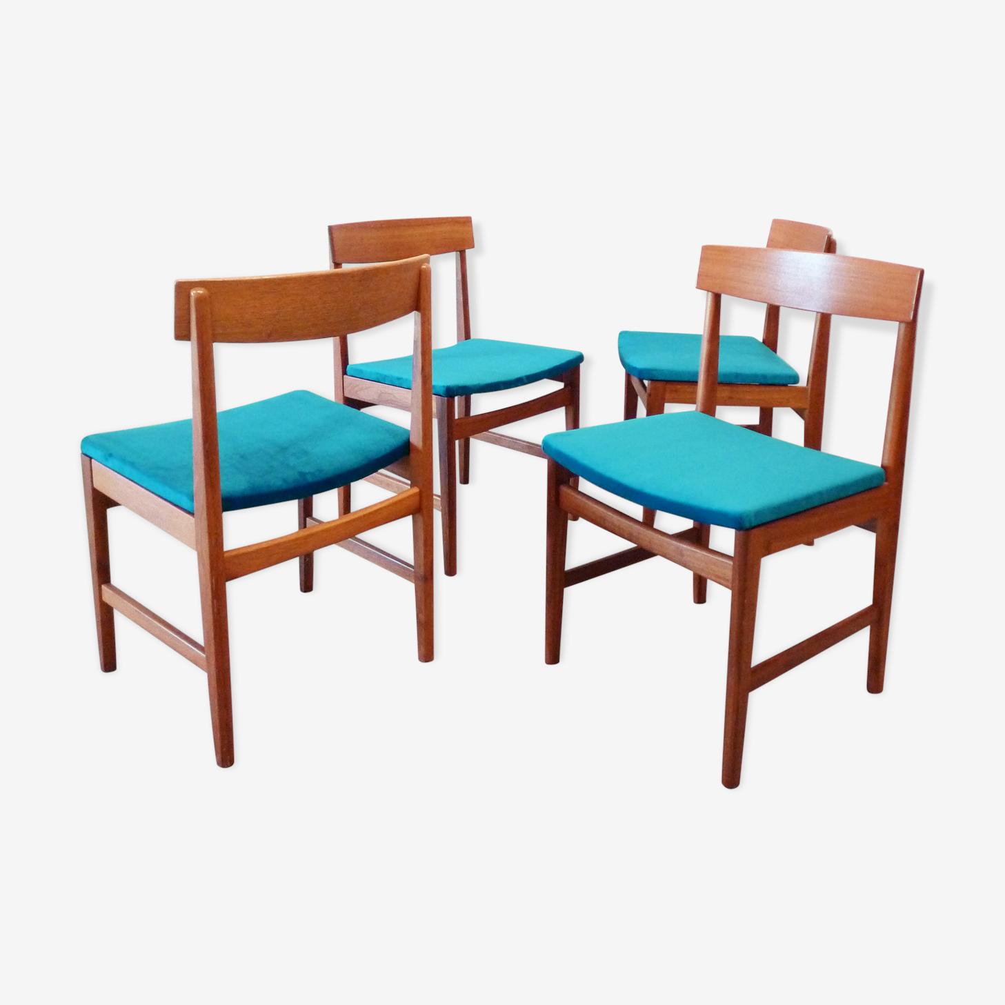 Set de 4 chaises en bouleau et velours