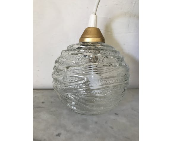 Suspension boule en verre vintage