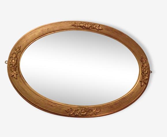 miroir ovale vintage moulures et cadre en bois verre et cristal dor classique 50928. Black Bedroom Furniture Sets. Home Design Ideas
