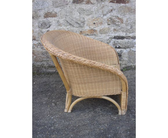 Low armchair in rattan, Wicker of the 70s/80s