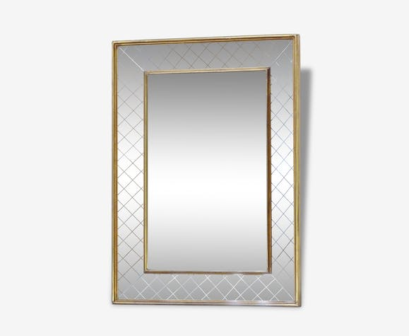 Grand miroir au style art d co bois mat riau dor for Miroir adhesif grand format