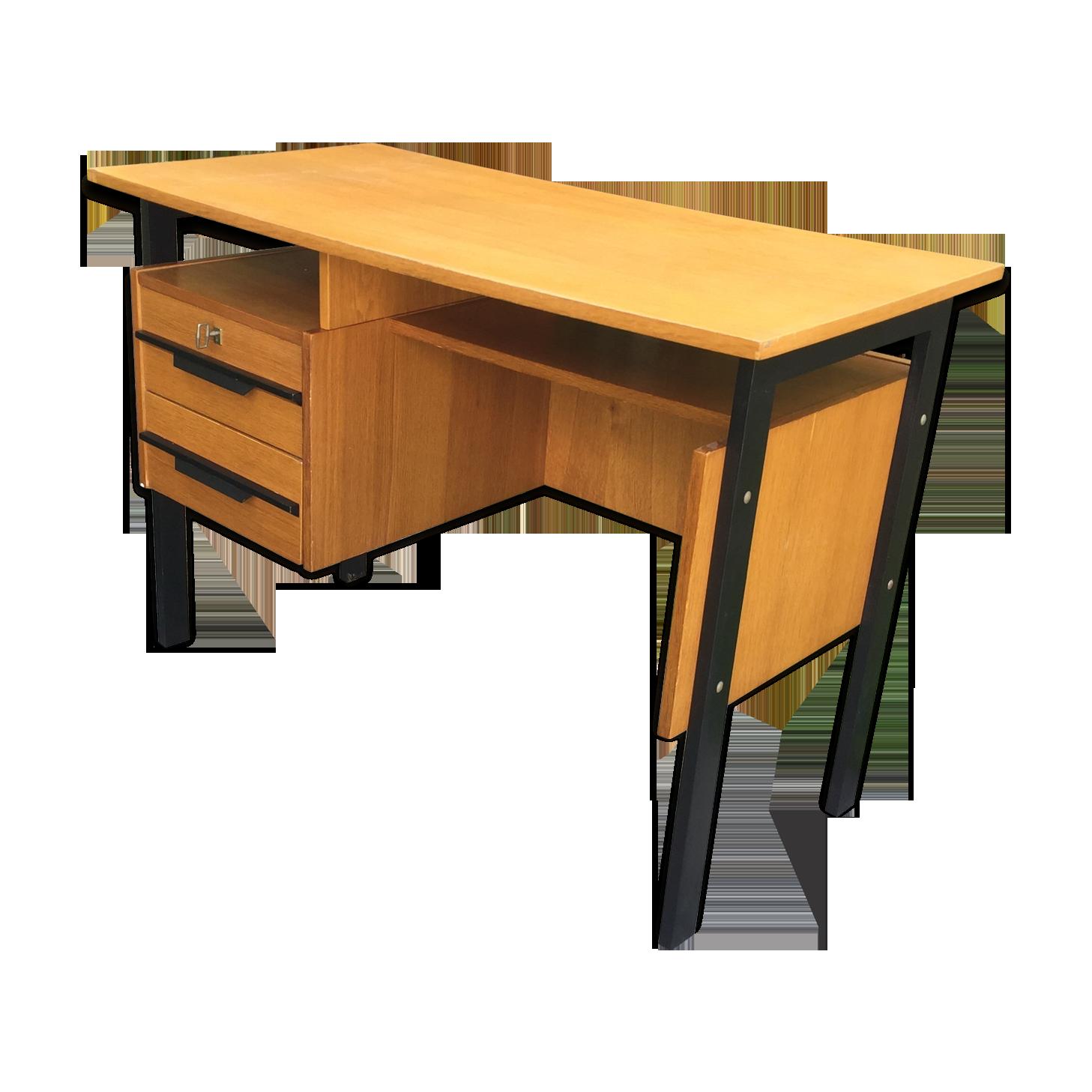 Bureau moderniste pieds noirs bois blond bois matériau