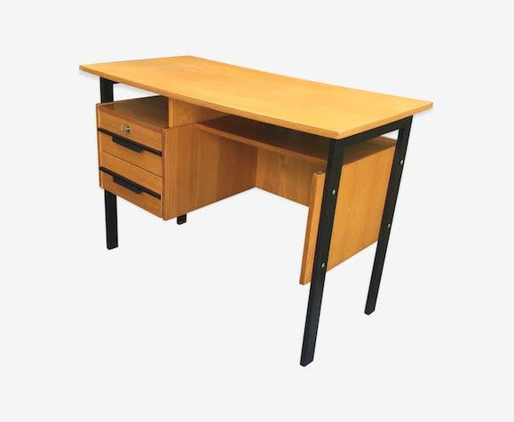 Bureau moderniste 1970 pieds noirs bois blond bois matériau