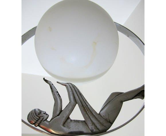 Suspension art déco chrome et opaline