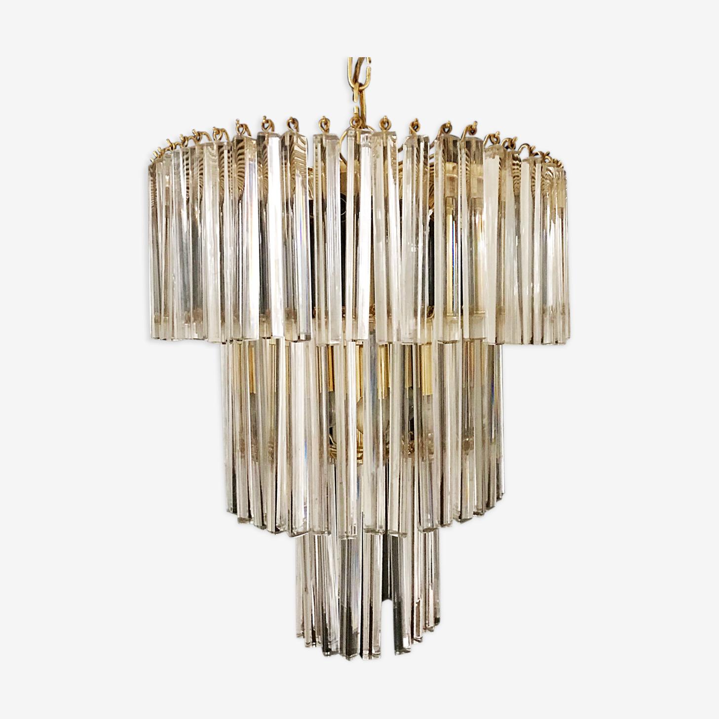 Lustre en cristal 3 niveaux Venini Murano en structure dorée 1980