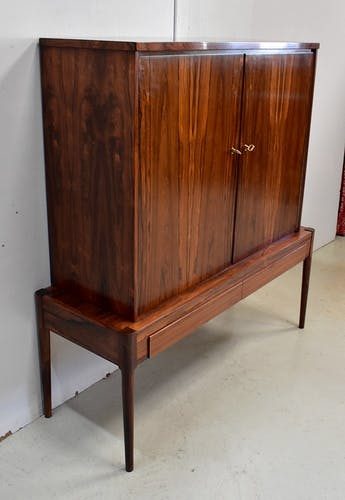 Cabinet en palissandre massif et plaqué, design scandinave – 1960