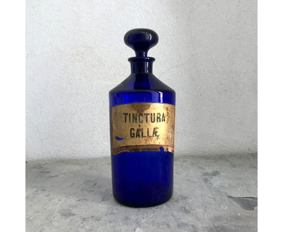 Old blue apothecary bottle