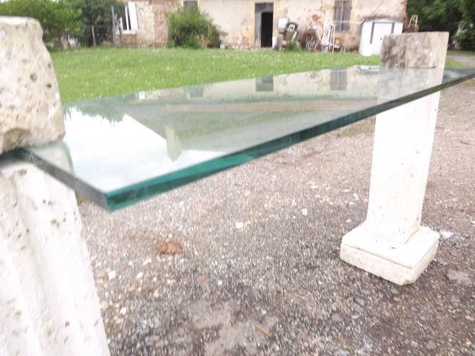Console table in stone of Chazelles
