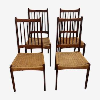 Série de 4 chaises scandinaves en teck et corde 60's