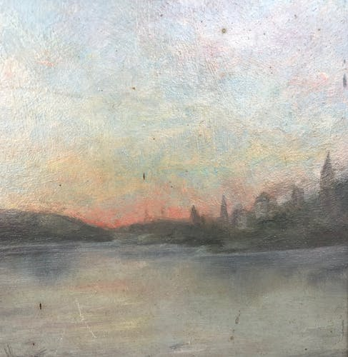 """Hule sur panneau encadrée, """" Rêverie au bord de l'eau """", fin XIXème."""