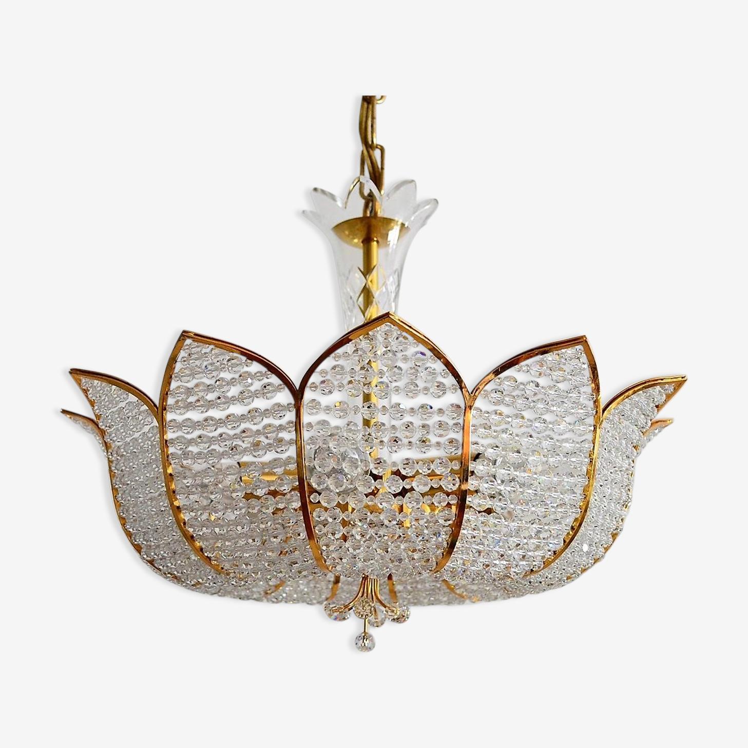 Chandelier regency in Crystal Golden by Palwa 1970 s