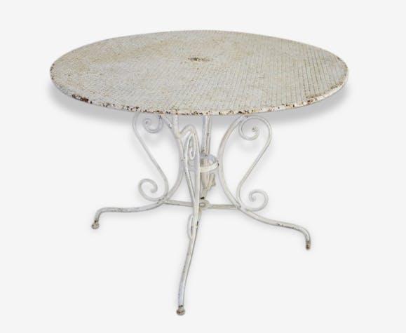 Table de jardin ronde en fer. - iron - white - classic - 61773