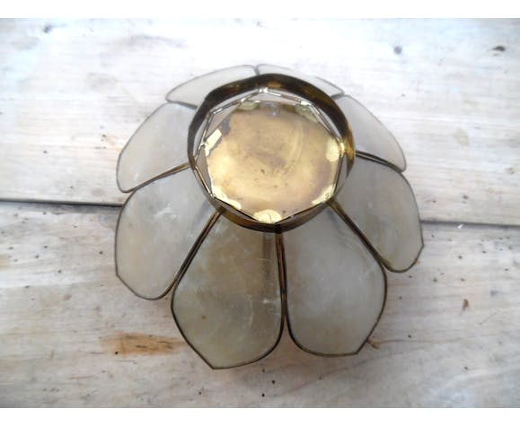 Mother-of-pearl and brass candlestick