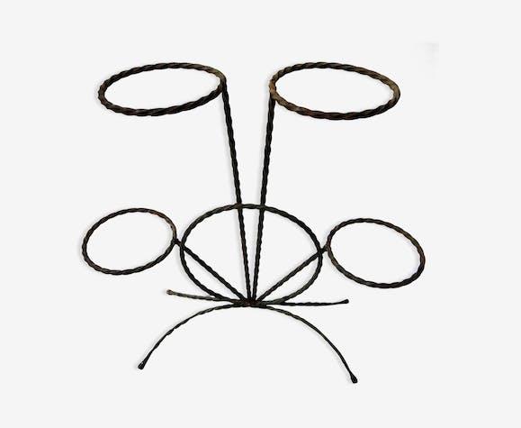 Porte-plante en fer forgé 4 pots en éventail - fer - noir - vintage ...