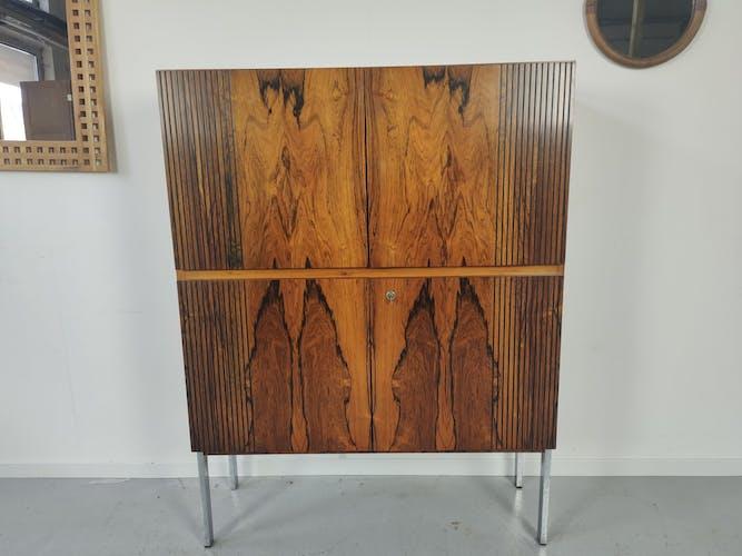 Buffett scandinave palissandre de Rio chrome 1960s