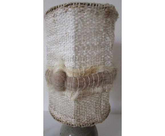 Lampe en grès abat-jour laine années 70