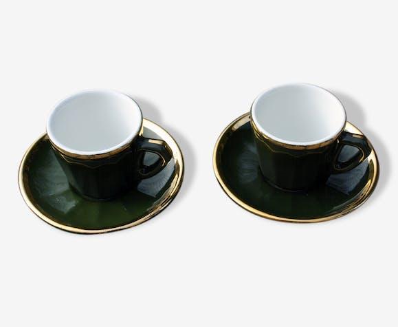 Tasses Et Sous Tasses Vert Et Or De Bistrot Vintage