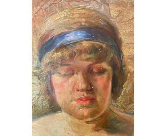 Tableau ancien, portrait d'une jeune fille, signé, années 60/70