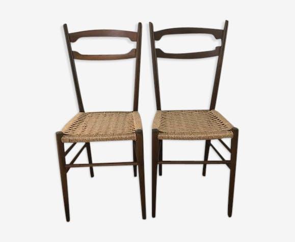 2 chaises scandinaves avec assise en corde