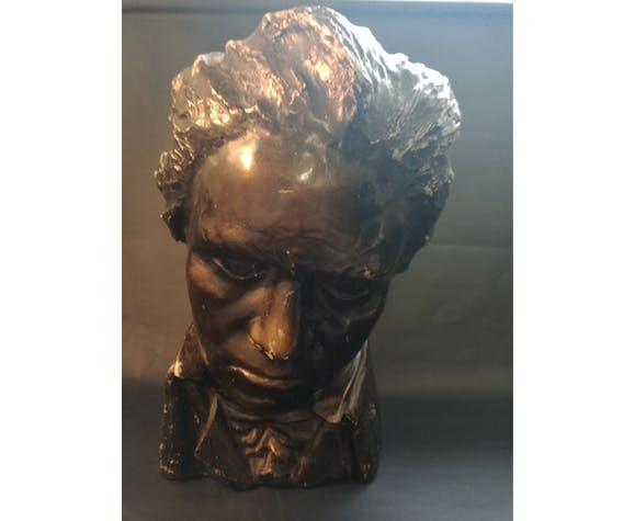 Buste Beethoven en plâtre patiné signé Limousin