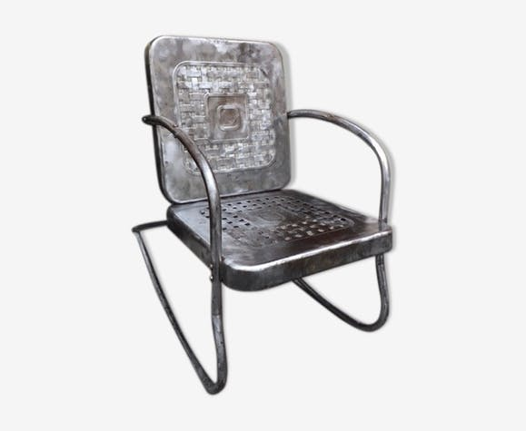 Rocking-Chair Américain 1950 - métal - gris - vintage - eJK4x2P