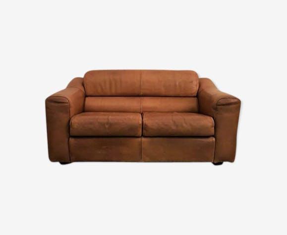 Canapé années 70 en cuir - cuir - marron - vintage - 9RoqXVK