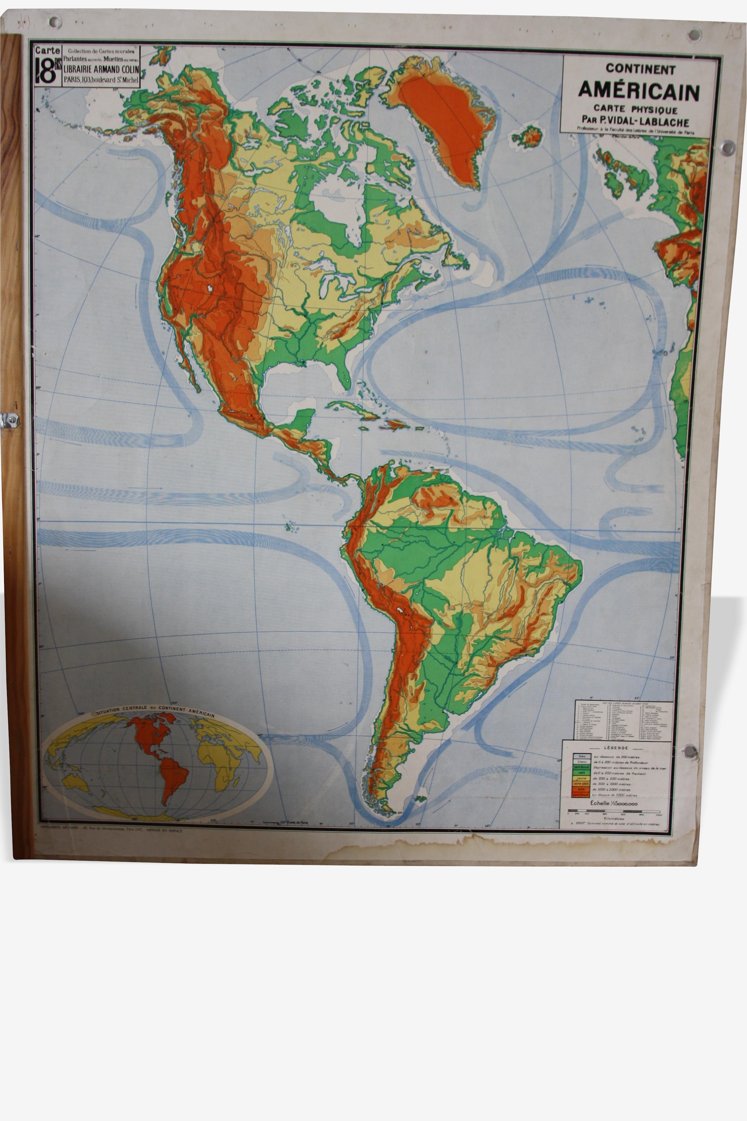 Carte scolaire poster vintage Lablache 18 Amérique