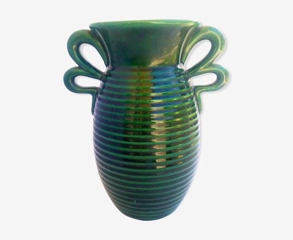 Vase en céramique verte de Blanche Letalle, Saint-Clément Lunéville
