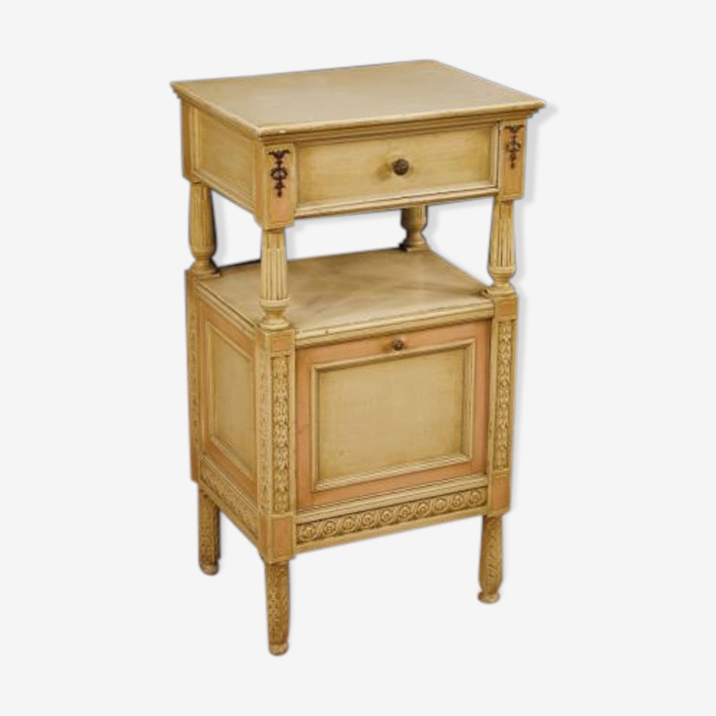 Table de chevet italienne en bois laqué et peint
