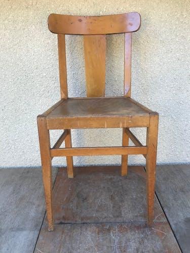 Serie de 3 chaises anciennes bistrot bois dossier courbé années 60 vintage