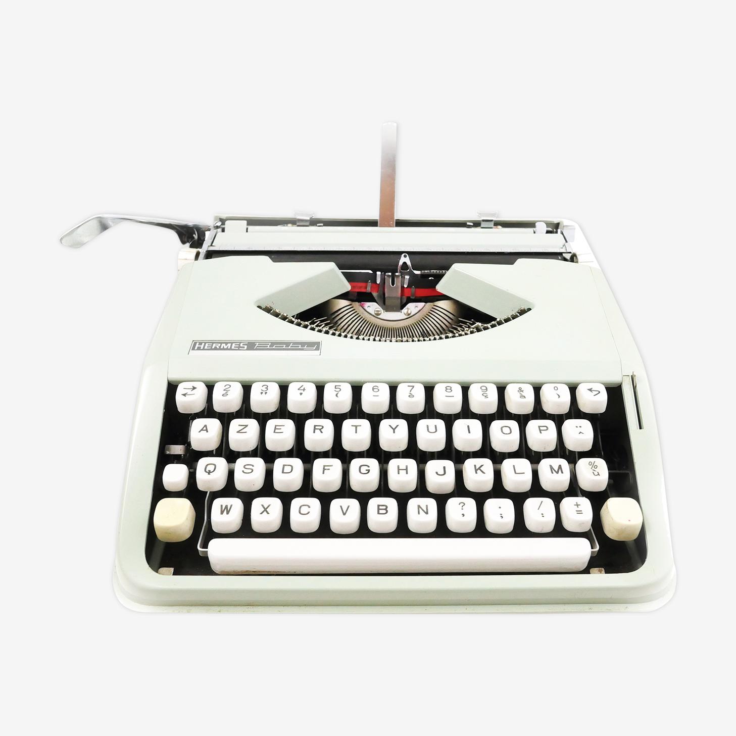 Machine à écrire Hermes baby verte tilleul vintage 1968