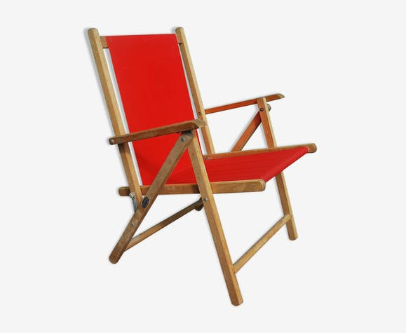 Chaise camping vintage rouge