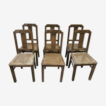 6 chairs cane of the 1950s