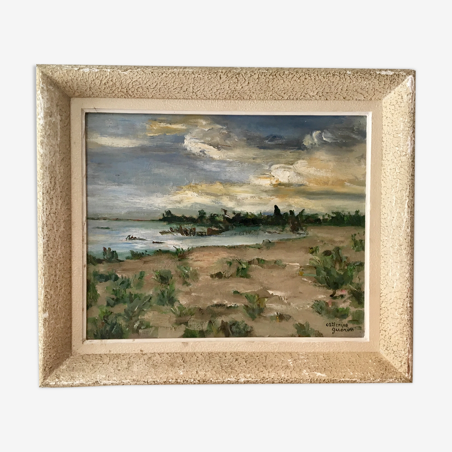 Painting, oil on canvas, landscape, sunset, signed Guerin