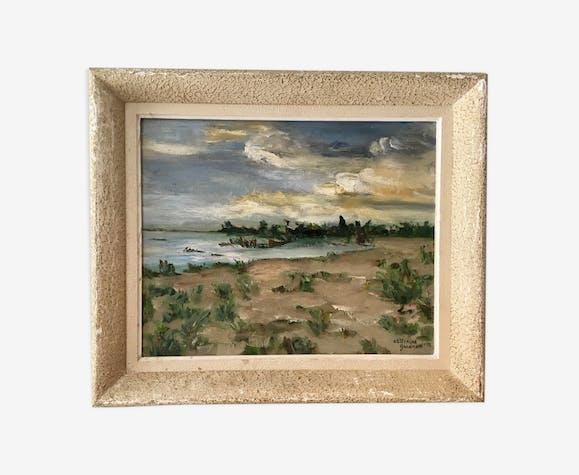 Tableau, huile sur toile, paysage, coucher de soleil, signé Guerin