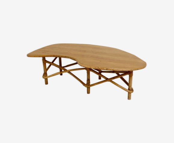 Table basse vintage en bambou et chêne France 1950