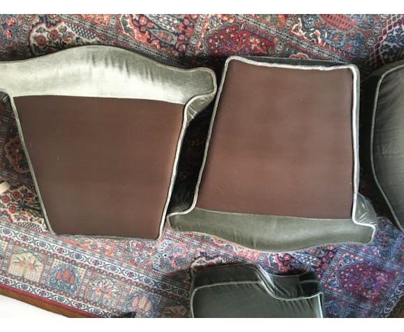 Paire de 2 fauteuils velours vert kaki