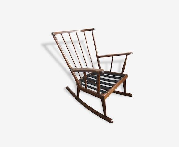 rocking chair chaise fauteuil bascule baumann ann es 60 bois mat riau bois couleur. Black Bedroom Furniture Sets. Home Design Ideas